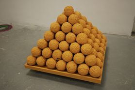 pyramid made of stacked balls