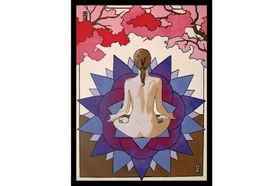 print of nude female meditating with back to viewer
