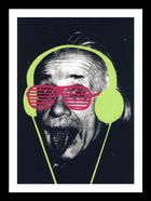 Einstein with sunglasses and headphones added