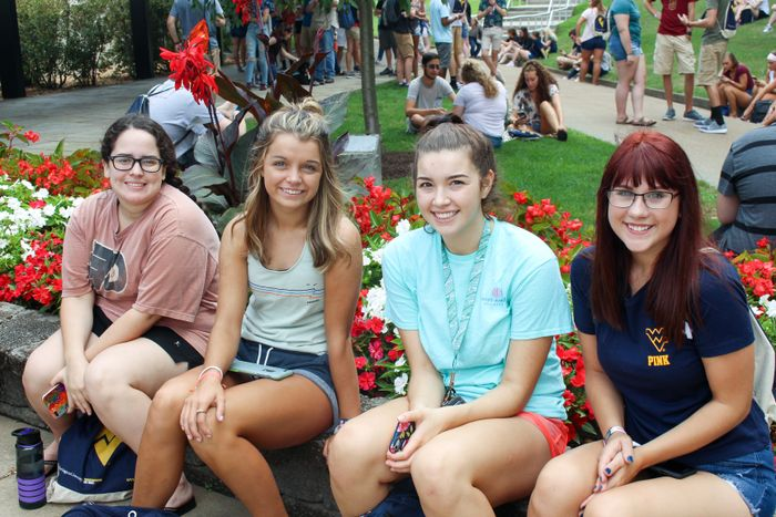 Honors College first-year students outside the Creative Arts Center at West Virginia University.