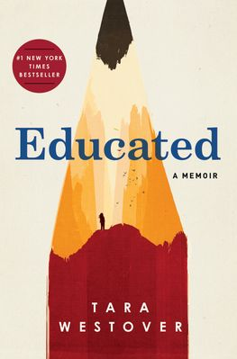 Cover for the book Educated by Tara Westover. A red pencil, where the paint also looks like hills with a person hiking.