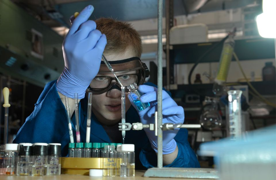 An image of a student researching in the lab
