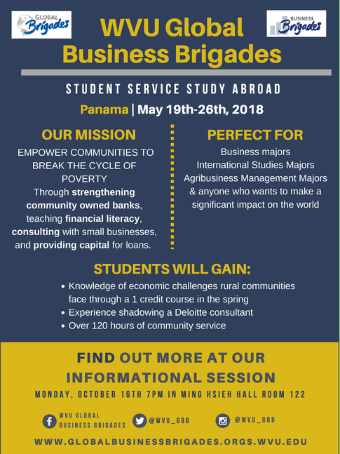 Oct. 16 at 7 p.m. info session for WVU Global Business Brigades.