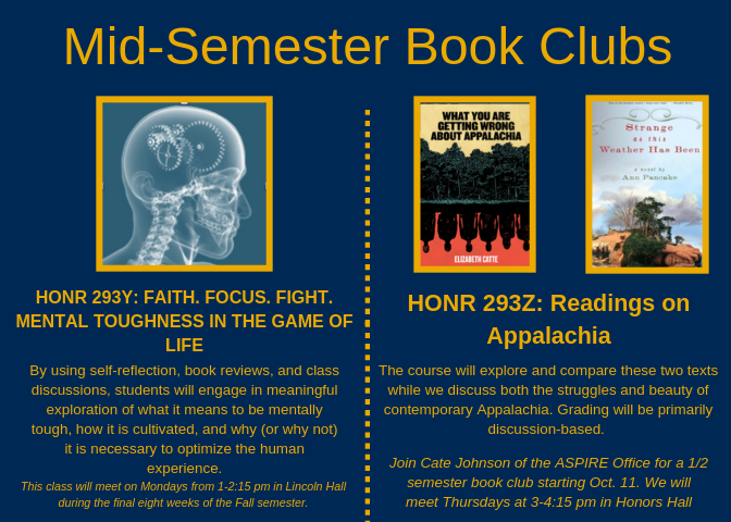 Two mid-semester book clubs offered. Book covers and descriptions, repeated in text below.