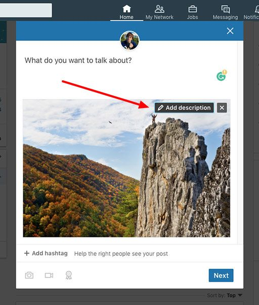 The add description button enables users to add alt text to images on LinkedIn.