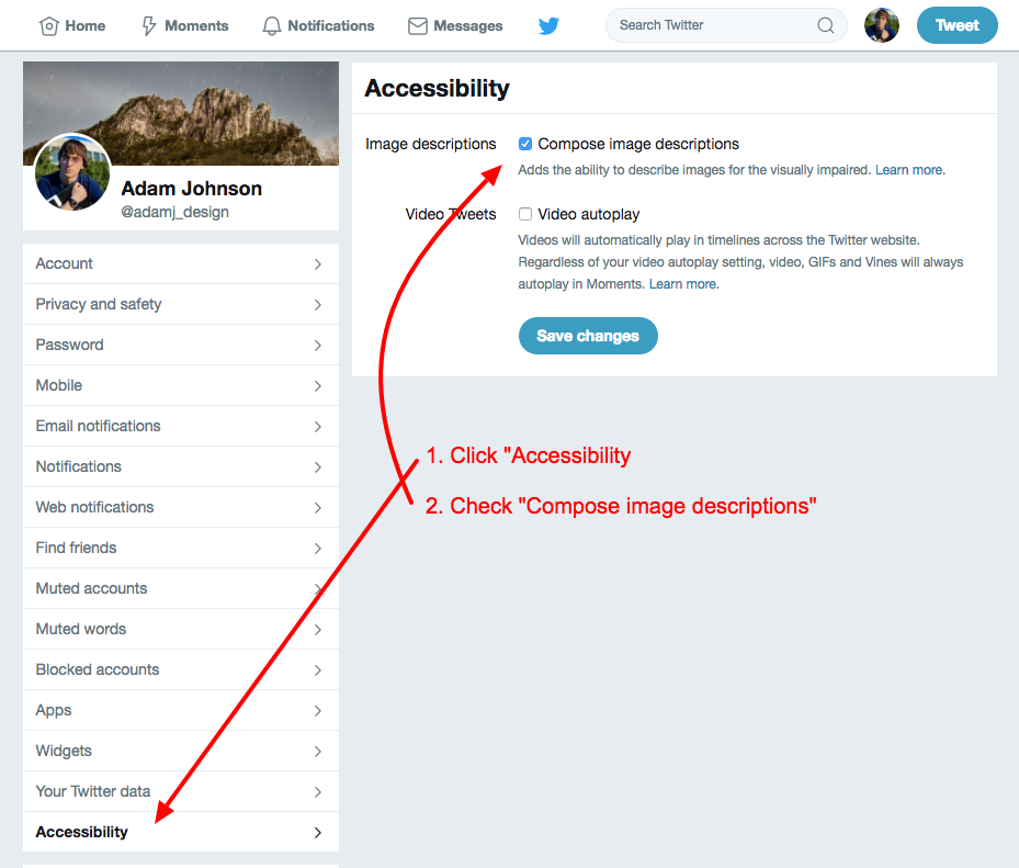 Arrows and text showing how to enable alt text support on the accessibility preferences pane on the Twitter settings interface.