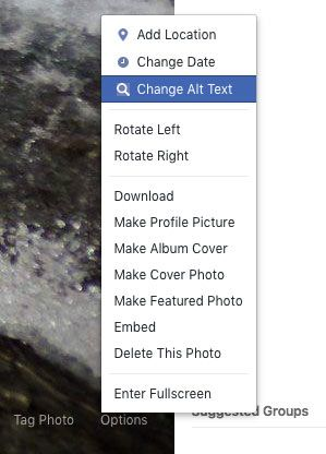 Screenshot of the Facebook UI showing where to find and edit alt text