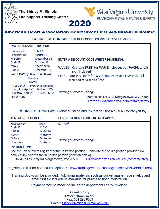2020 American Heart Associate Heartsaver First Aid/CPR/AED Course Flyer
