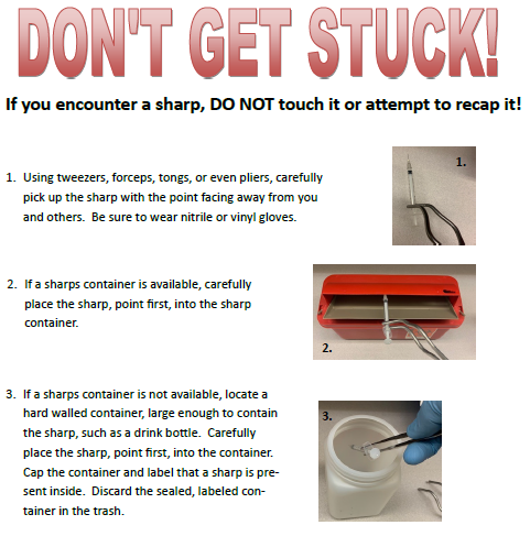 Procedure for handling improperly discarded sharp to prevent getting a needle stick