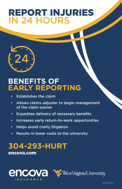 Report Injuries in 24 Hours CALL 304-293-HURT