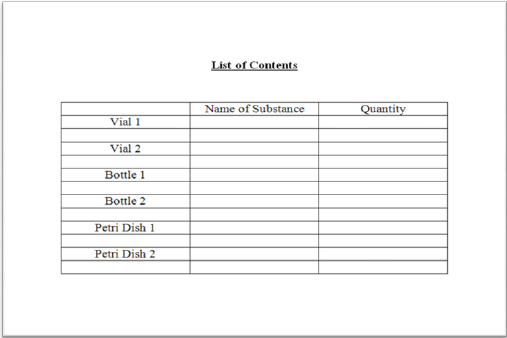 Example of a List of Contents document in table format.
