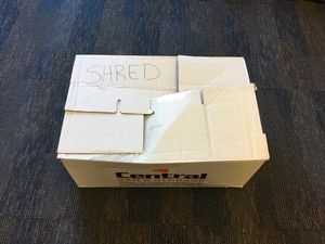 Correct packaging of documents-box closed and clearly labeled