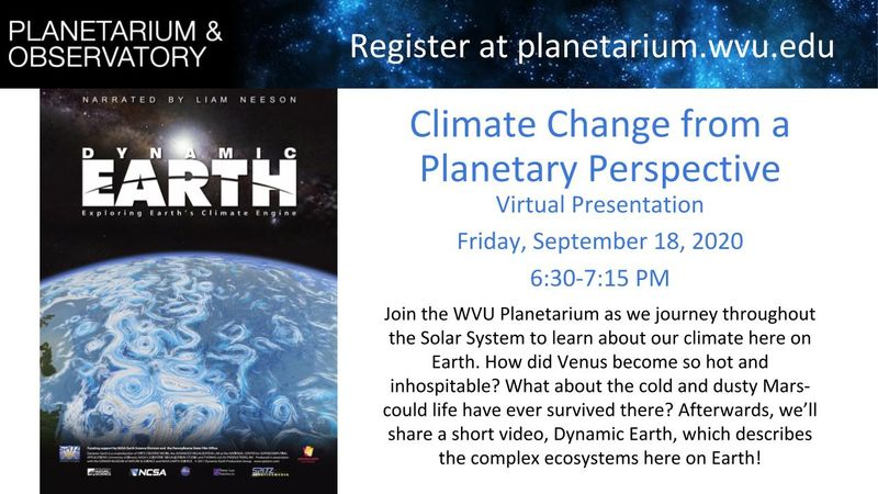 Flyer for Climate Change from a Planetary Perspective Show on 9/18 at 6:30pm