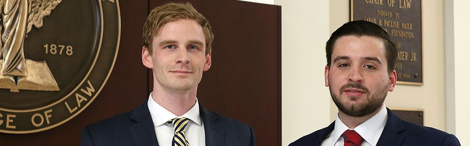 WVU Law students Levi Pelligrin and Brian Bowen inaugural consumer law fellows