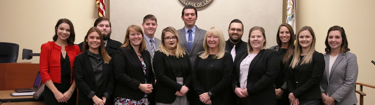 WVU Law clinic students in Lugar Courtroom