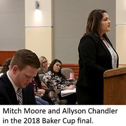 WVU Law 2018 Baker Cup finalists Mitch Moore and Allyson Chandler