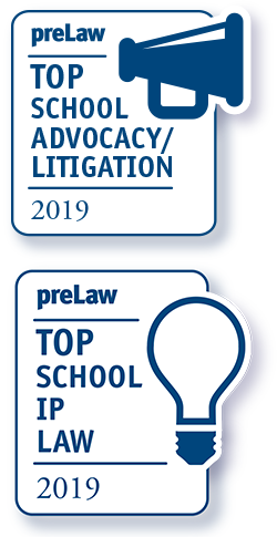 WVU Law - preLaw Top School Badges for Trial Advocacy and IP Law