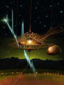 Figure Credit: Danielle Futselaar — The 305-m Arecibo telescope and its suspended support platform of radio receivers is shown amid a starry night. From space, a sequence of millisecond-duration radio flashes are racing towards the dish, where they will be reflected and detected by the radio receivers. Such radio signals are called fast radio bursts, and Arecibo is the first telescope to see repeat bursts from the same source.