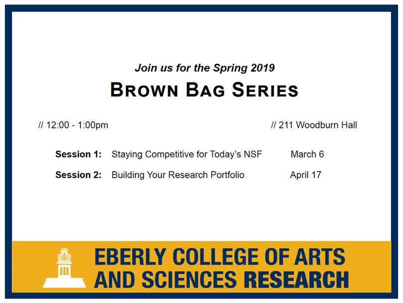 March 6:  Staying Competitive for Today's NSF | April 17:  Building Your Research Portfolio | 12:00 noon - 1:00 pm, 211 Woodburn