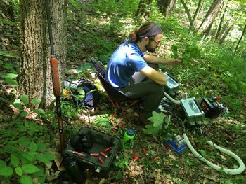 Justin Mathias working at his field site