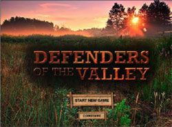 landing page for Defenders of the Valley video game