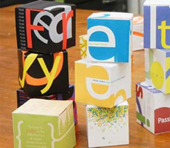 stacks of cubes that are package design studies