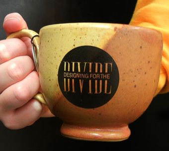 ceramic mug with logo from Designing for the Divide Conference