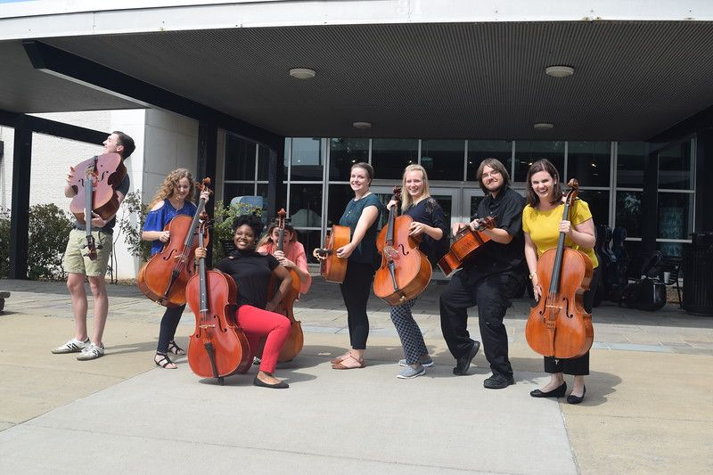 WVU Cello Studio students posing with instruments