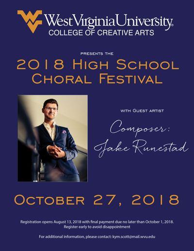 2018 High School Choral Festival featuring composer Jake Runestad, October 27, 2018