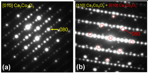 Electron diffraction patterns of Ca_2Co_2O_5