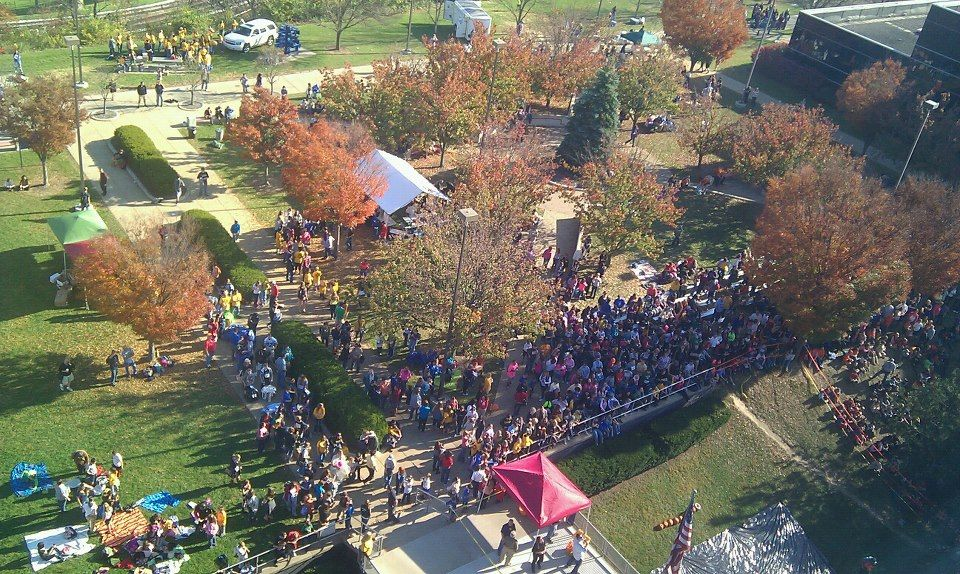 The pumpkin Drop event as seen from the roof of the Engineering Sciences Building