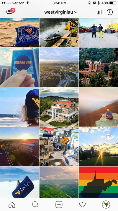 A screenshot of West Virginia University's Instagram feed displaying photos of Morgantown, the WVU campus, and Mountaineers traveling.