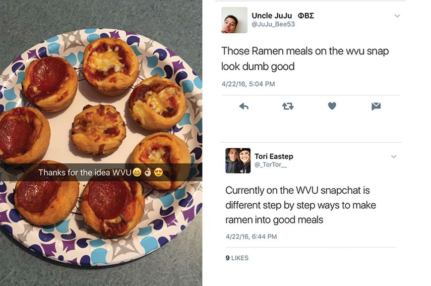Wvu has taken on recipe video craze with new snapchat campaign feedback forumfinder Gallery