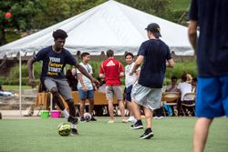 Playing soccer at the International Student Picnic