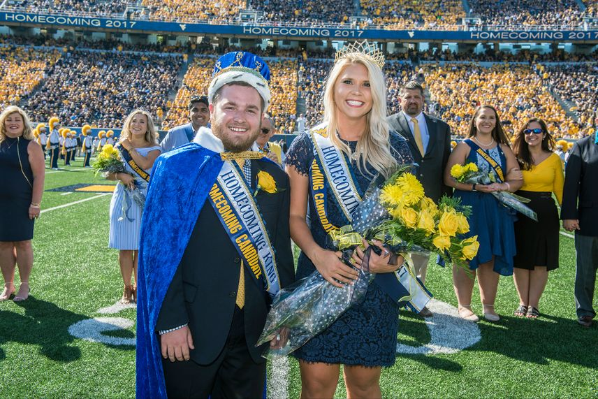 2017 WVU Homecoming King Charlie Hageboeck and Queen Morgan Cunningham