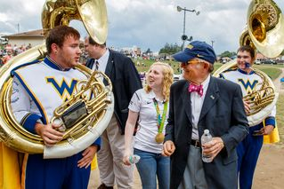 Ginny Thrasher and President Gee with band members