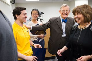 President Gee with Jesse Schiffbauer, Lyn Yuen Choo and Dr. Carolyn Atkins
