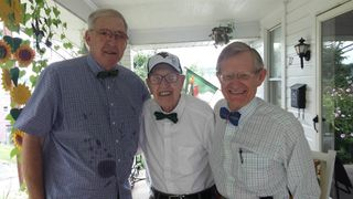 Gale Catlett, President Gee and Charles Whiston