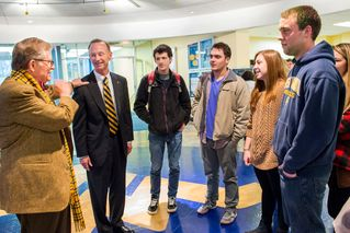 President Gee, Schafer and students