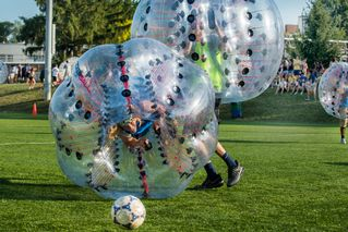 Jacob Daiger playing bubble soccer
