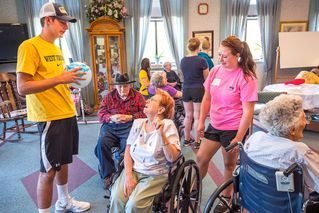 Kyle Markle and Kendyle Atkins talk to residents