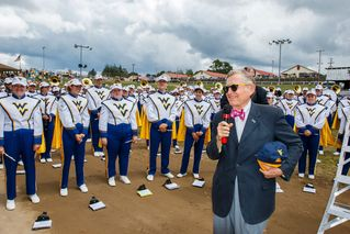 President Gee speaking to band