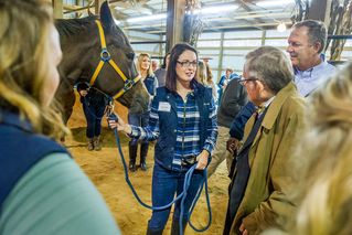 Katarina Candee and President Gee with horse
