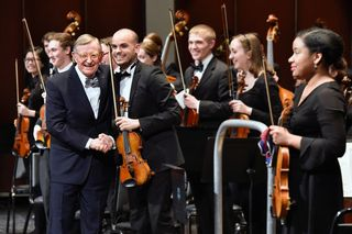 President Gee with Symphony Orchestra members
