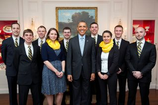 Rifle team members meet with President Obama