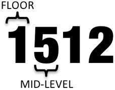 1512 [Falbo Theatre] is located a half-level up from floor 1.