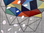 detail of geometric artwork with colorful shapes