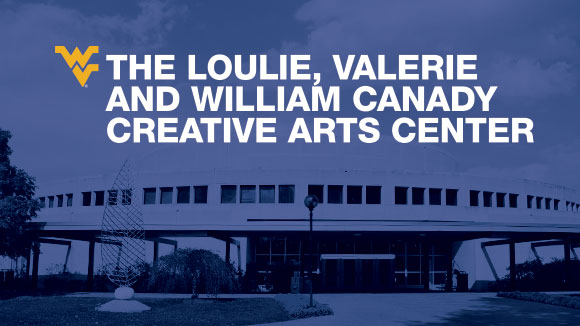 The Loulie, Valerie and William Canady Creative Arts Center logotype on top of an image of the building