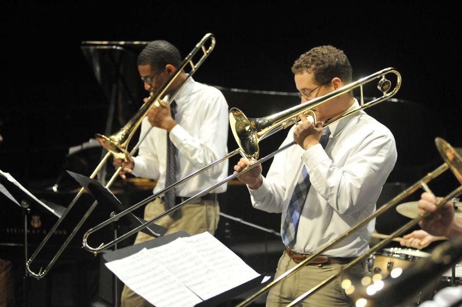 Jazz ensemble trombone players