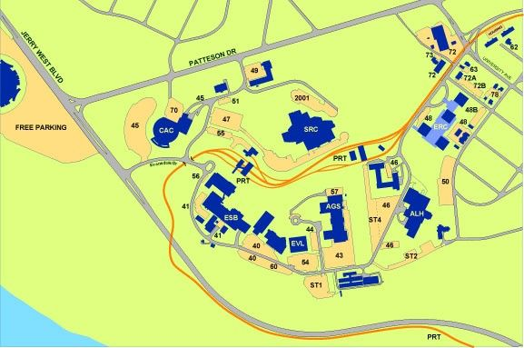 An image of the parking map for the Evansdale Campus